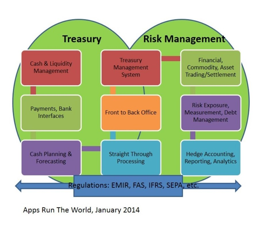 Schematic View of Treasury and Risk Management Applications and Their Functions