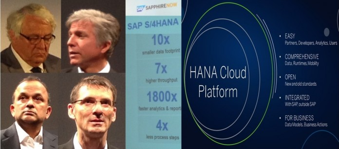 SAP executives chairman Plattner(clockwise top left), CEO McDermott, Product Head Leukert and Business Network Chief Singh detail different traits of S/4HANA, HANA Cloud Platform