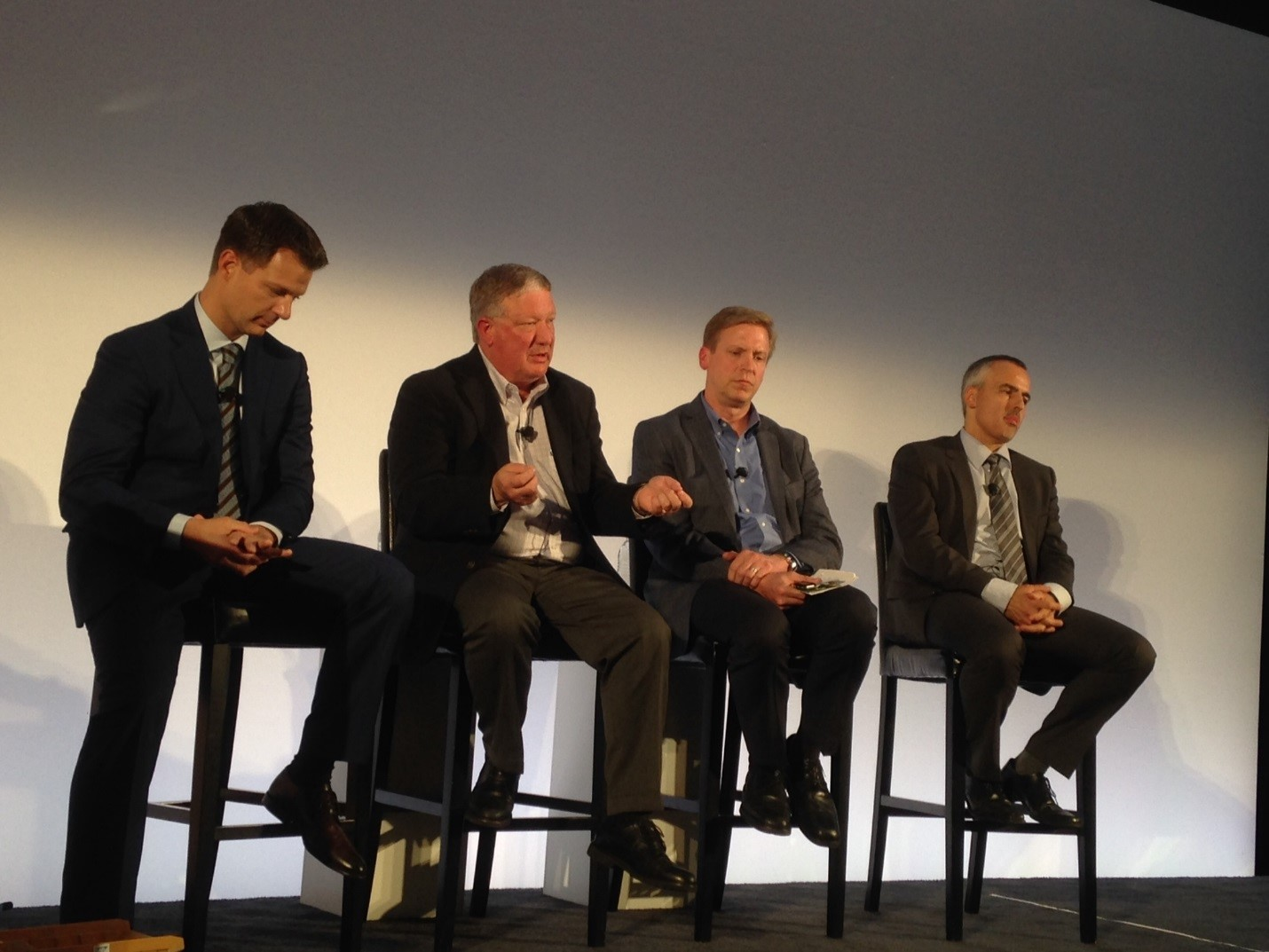 SAP's Steve Lucas(left) with HCP customers including CenterPoint Energy, Siemens, Tennant